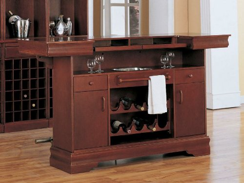 Amazon Coaster Traditional Cherry Finish Bar Unit w/Wine Rack Sink  Drawers Kitchen & Dining