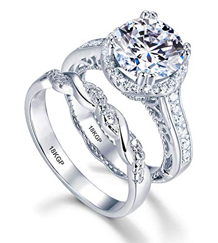 (AndreAngel Wedding Rings Set Engagement 2 pcs Women White Gold 18K GP 6 mm 0.75 Carat Cubic Zirconia Lab Diamonds AAAAA 32 Stones Round Cut Bridal Marriage Promise Valentine's)