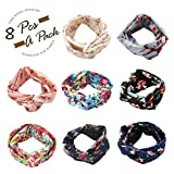 Thunaraz 8 Pcs Headbands Women Girls Wide Boho Knotted Yoga Head Wrap Hair Band