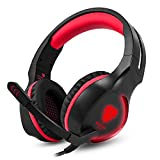 YUNQE Gaming Headset for Xbox One PS4 PC,SL-100 3.5 mm Gaming Headset LED Light Over-Ear Headphones with Volume Control Microphone for Xbox PS4 Laptop Tablet (Red+Black) Review