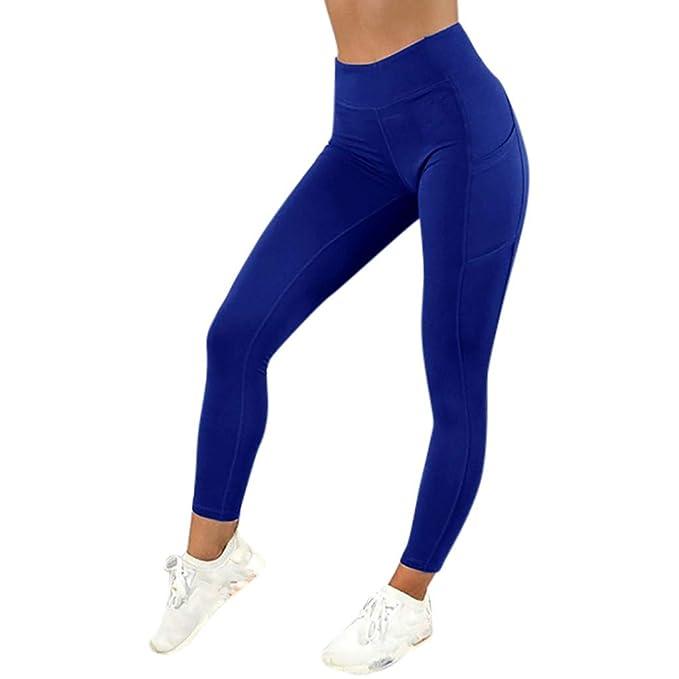 MEIbax Leggings Deportes Pantalones para Mujeres de Color sólido Entrenamiento Gimnasio Fitness Gym Yoga Mid Cintura Running Workout Mallas elásticos ...