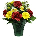 Red-Rose-Yellow-Dahlia-Mix-Artificial-Weighted-Potted-Bouquet-PT1534