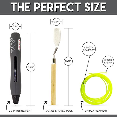 3D Pen Non Toxic 3D Doodler Printing Pen - Cool Fun Gadget with 1 Button Operation - Full Kit with 2 PLA Filaments, USB & FREE Shovel Tool by Curiosity by Curiosity (Image #5)