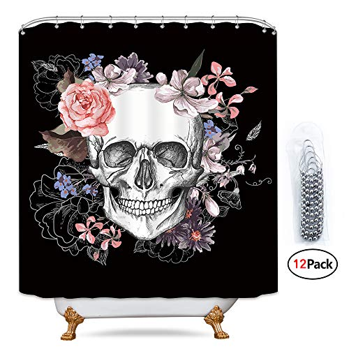 Riyidecor Flowers Sugar Skull Shower Curtain 72x78 Inch Metal Hooks 12 Pack Skeletons All Saints Day Halloween Pink Rose Black and White Image Decor Fabric Set