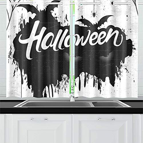 MOVTBA Scary Retro Happy Halloween Stylish Kitchen Curtains Window Curtain Tiers for Café, Bath, Laundry, Living Room Bedroom 26 X 39 Inch 2 Pieces ()