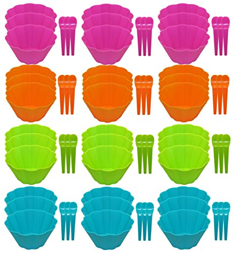 Set of 36 Ice Cream Bowl Sets! Matching Spoons - 72pc Set - Adorable Flower Wave Design - 4 Bright and Beautiful Colors - Perfect for Parties, Kid's, Picnics, Family (4 Ice Cream Bowls)
