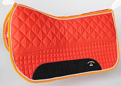 Western Horse SADDLE PAD 28X32 QUILTED DOUBLE BACK FLEECE LINED ORANGE 39100 by Challenger