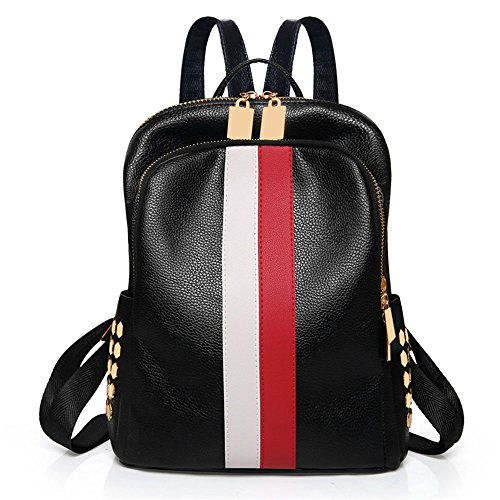 Mynos Fashion Double Zippers Women Mini Backpack Bag Teenager School Backpack (Red and white)