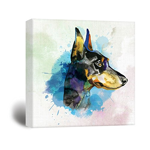 Square Dog Series A Dobermann Painting with Blue Color Splash Background