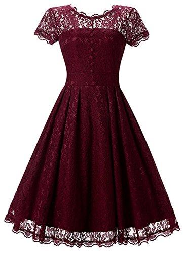 SHUNLIU Vestidos de Fiesta Largos Vestido de Encaje Retro con Cuello Redondo Vestido de Mujer Elegantes de Noche Vestidos Talla Grande Rojo