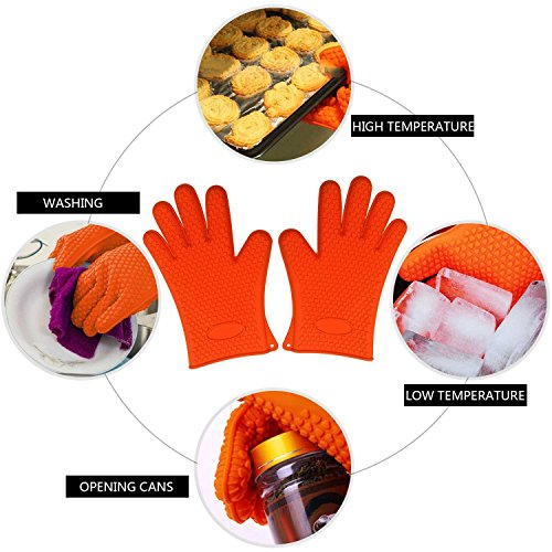 Want (3 Pieces) Silicone Heat-Resistant Gloves & Basting Brush & Pot Holder,Cooking Gloves for Barbecue,Oven Baking,Smoking & Potholder online