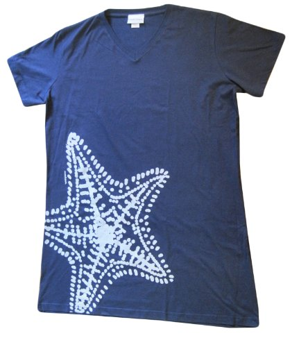Hand printed in the USA Cotton Cover Up By Marushka Handprints - 4 Designs (S/M, Starfish Natural on Navy)