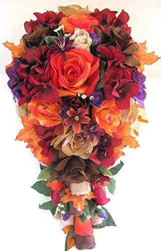 Amazon Com Wedding Flowers Silk Bridal Bouquet Orange Red Brown