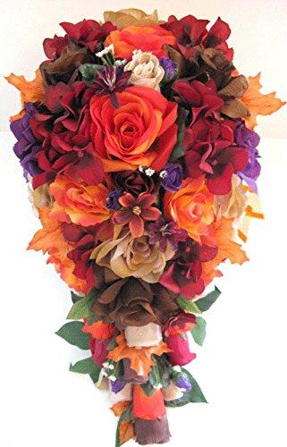 Amazon.com: Wedding Flowers Silk Bridal Bouquet ORANGE RED BROWN ...