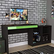Mesa Escrivaninha Gamer com 4 Nichos B24 - Preto/Verde