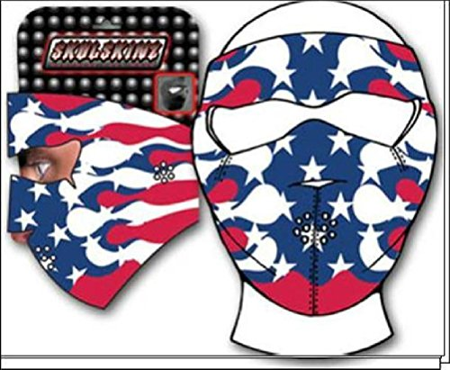 USA American Flag Pinstripe Flame Neoprene Full Face Mask Biker by ZIZI SPORTS SUPPLY