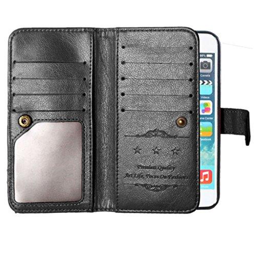 """iPhone 6 4.7"""" Coque, Lifetrust [ noir ] [stand Feature] Folio style livre Wallet Case PU Cuir Premium Card multiple (9) Slots trésorerie poche avec Magnetic snap Retournez Coque pour Apple iPhone 6 6S"""