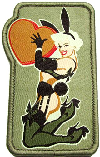 "[Single Count] Custom, Cool & Awesome {2.4'' x 3.8'' Inches} Rectangle US Armed Forces Pinup Military Love Bunny Sexy Gal Badge (Tactical Type) Velcro Patch ""Green, White, Orange & Black"" by mySimple Products"