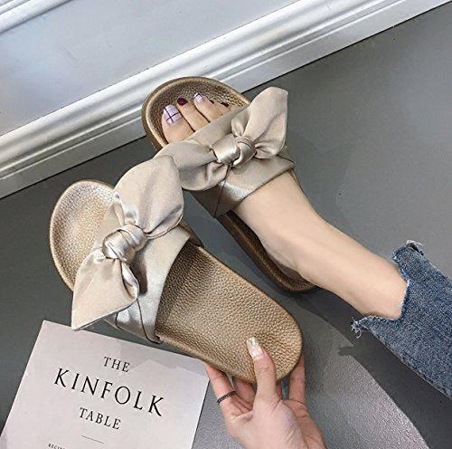 Rosa Vento Pantofole Spiaggia Arco Fondo Donna Corte Piatto da Spesso Estivo Moda Abbigliamento Fondo alla Uq6WnB65w
