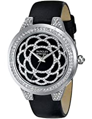 Badgley Mischka Womens BA/1331BKBK Swarovski Crystal Accented Silver-Tone Black Leather Strap Watch