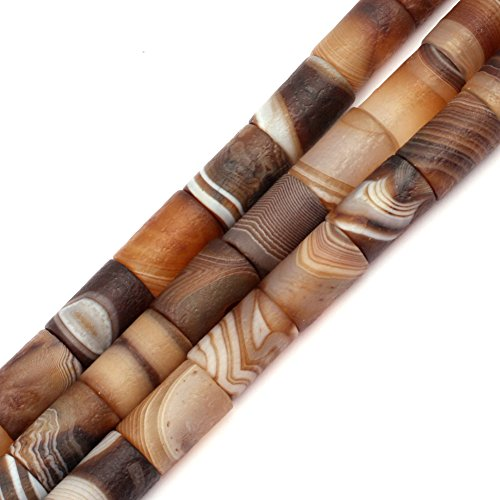 Botswana Agate Beads for Jewelry Making Natural Semi Precious Gemstone 12x16mm Frosted Matte Column Strand 15