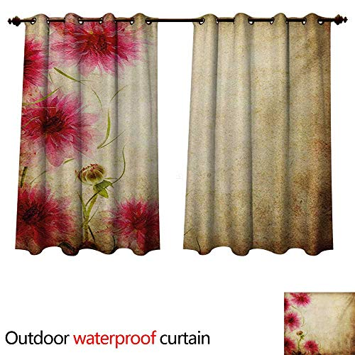 WilliamsDecor Floral Outdoor Curtains for Patio Sheer Retro Flowers on Old Grunge Paper Background Nostalgic Background Bouquet Print W72 x L63(183cm x 160cm)