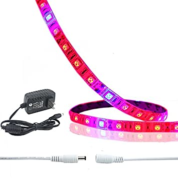Bonlux Flexible LED Grow Strip Light Kit, Waterproof Full Spectrum  0 6m/strip 5 Watt Soft LED Plant Growing Bar Light + 2A Adapter + DC extend