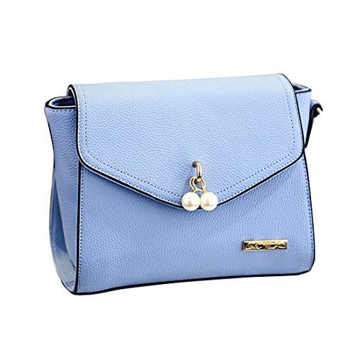 Skyblue Shoulder Hobo Leather Womens Crossbody Handbag Pearl Korean Luckywe Handbags zxqTIwFz