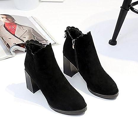 ZHZNVX HSXZ Zapatos de Mujer Invierno PU Botas de Moda Botas Bota Chunky Talón Puntera Redonda