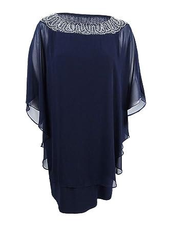70d98ccf391 Xscape Women s Plus Size Beaded Chiffon Capelet Dress (22W