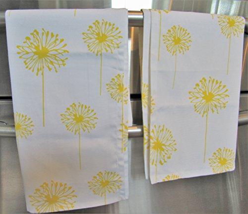 Yellow Dandelion Kitchen Dish Towels