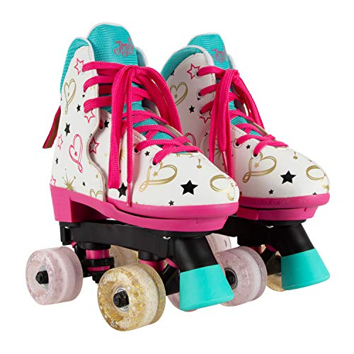 Circle Society Classic Adjustable Indoor & Outdoor Childrens Roller Skates - JoJo Party in Pink - Sizes 12-3