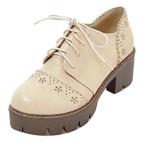 COOLCEPT Damen Bequeme Chunky Court Schuhe Schnurung Beige