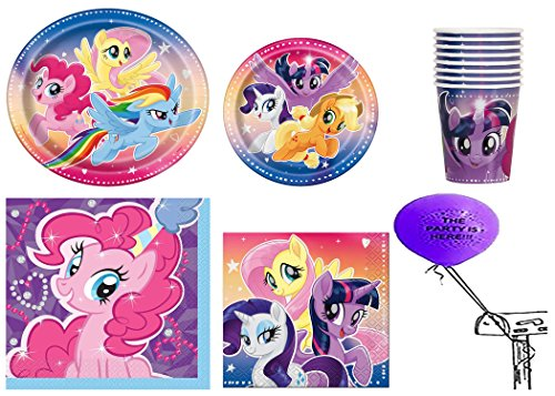 My Little Pony Party Pack for 16 Guests with The Party is Here Balloon by partybyspursgrl