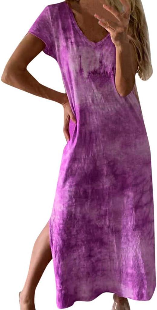 Maxi vestido largo para mujer, teñido de corbata, vestido de playa ...