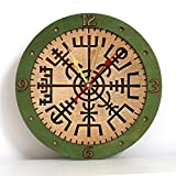 Cheap Vegvisir II viking compass unique Icelandic Viking rune for luck and blessings, decor wooden wall clock emerald green. Personalized, housewarming, one-of-a-kind, gift