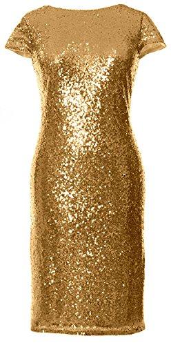 Formal Elegant Wedding Bridesmaid Sleeves Gold Dress Short MACloth Gown Sequin Cap ZqFawwR