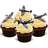 Spitfire Aeroplane Mix - Fun Novelty Birthday PREMIUM STAND UP Edible Wafer Card Cake Toppers Decoration