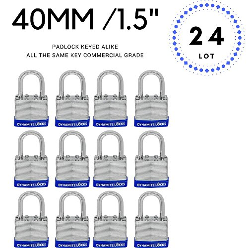 (24 PC PIECE SET 40MM KEY ALIKE SHORT SHACKLE PADLOCK KEYEDALIKE COMMERCIAL GRADE PAD LOCKS PADLOCK KEYED THE SAME A LIKE)