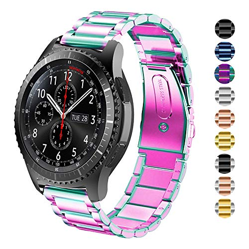 DELELE for Samsung Gear S3 / Galaxy Watch 46mm Band, 22mm Solid Stainless Steel Metal Business Replacement Strap for Samsung Gear S3 Frontier/Classic/Galaxy Watch 46mm Women Men (Rainbow)
