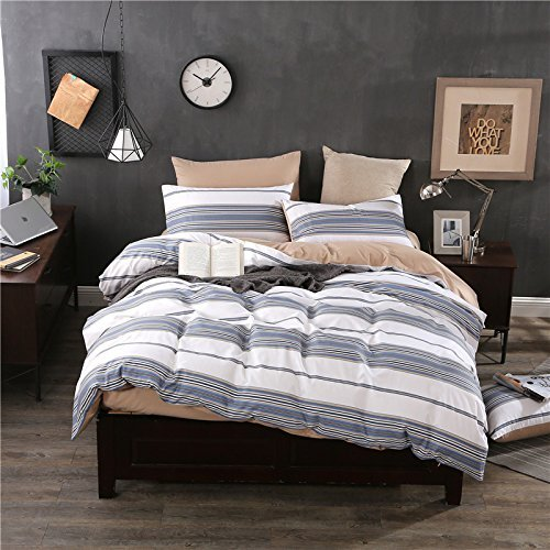 寝具布団カバー コットンツイルの寝具セット、ダブルベッド4台ストライプテキスタイル、ダークブルー、200 * 230 cm 超ソフト低刺激性