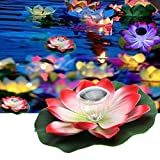 MAZIMARK--Solar Floating Pond Pool Lotus Flower Lamp LED Garden Light US supplier