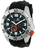 Joshua & Sons Men's JS53OR Silver-Tone Metal Watch with Black Silicone Strap