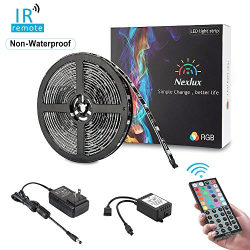 Color Changing Light Strip, Nexlux 16.4ft Non-waterproof LED Light Strip 5050 SMD RGB LED Flexible Strip Light Black PCB Board Decoration Lighting 44 key IR Remote Controller UL Power Adapter