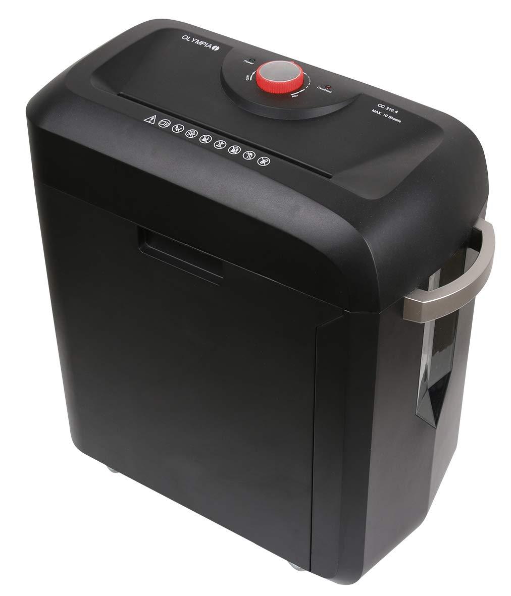 Olympia MC 310.4 Premium Aktenvernichter Büro (Sicherheitsstufe P4, Partikelschnitt, 10 Blätter 80g/m², Papiervernichter mit automatischem Einzug, Schredder mit Mikroschnitt) 10 Blätter 80g/m² CC 310.4