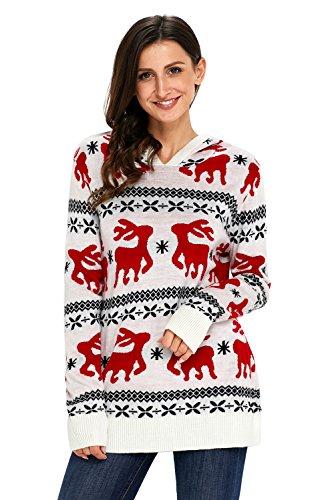 Shawhuwa Womens Christmas Sweater Reindeer Knit Hoodie Pullover XL White