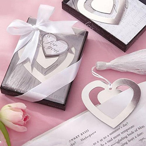 WEIYI Creative Hollow Heart Shape Stainless Steel Bookmark for Business Gift (Silver)