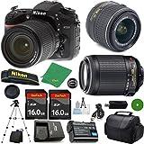ZeeTech Ultimate Bundle for D7200 DSLR Body, 18-55mm VR Lens, 55-200mm f4-5.6G VR Nikkor, 2pcs 16GB ZeeTech Memory, Camera Case