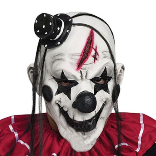 JUNGSON--Halloween Clown Latex Mask Face Fancy Party Costume Scary Horror Chamber -