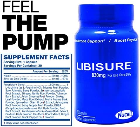 Libisure – High Performance Booster for Men Women- Increase Stamina, Strength, Performance All Day- Energy, Mood, Endurance Boost – Maca, Tribulus Ginseng Horny Goat Weed Epimedium 30 Caps Man. USA